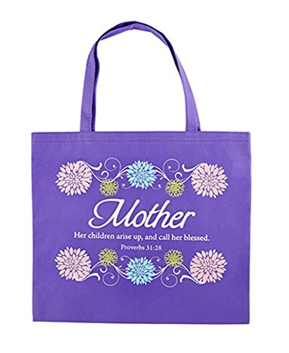 Purple Nylon Mother Tote Bag with Proverbs 31:28 Scripture, 13 (Catholic Tote Bag)