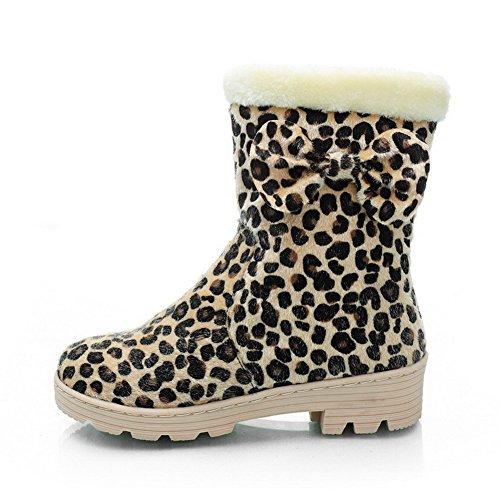 AllhqFashion Mujeres Mini Tacón Colores Surtidos Sin cordones Botas con Patrón de Leopard Amarillo