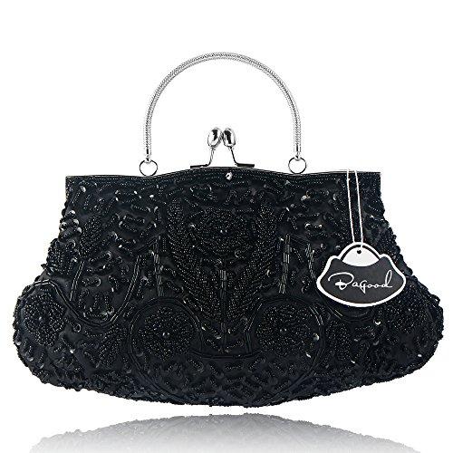 Bagood Women's Vintage Style Beaded Sequined Evening Bag Wedding Party Handbag Clutch (Black Beaded Evening Handbag)