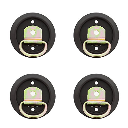 ABN | D Ring Tie Down Anchor Set - 4 Pack D Ring Style Mounting Tie Down Ring with Plastic Pan Mount, 1200 LB Rating