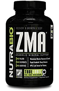 NutraBio ZMA - 180 Vegetable Caps – Nighttime Muscle Recovery Supplement