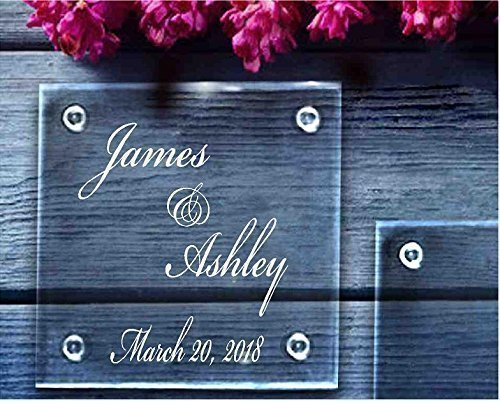 Personalized Glass Coasters Wedding Favors Anniversary Gift Set Of 4