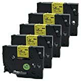 QPMY 5 Pack Compatible for Brother P-Touch Laminated TZe TZ Label Tape Cartridge 9mm x 8m (TZe-621 Black on Yellow)