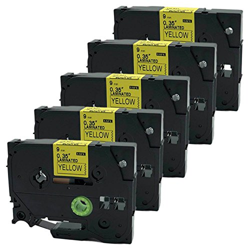 QPMY 5 Pack Compatible for Brother P-Touch Laminated TZe TZ Label Tape Cartridge 9mm x 8m (TZe-621 Black on Yellow) by QPMY