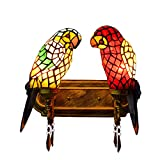 FUMAT Tiffany Mirror Front Light Parrot 2 Heads Wall Lighting Stained Glass E26 LED¡¡Wall Lamp 110V Retro Bedside Wall Light Bird Passage Wall Lights