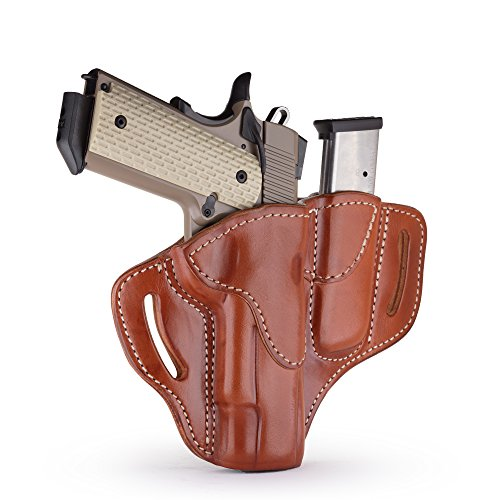 1791 GUNLEATHER 1911 Holster, Right Hand OWB Leather Gun Holster for belts fits all 1911 models with 4' and 5' barrels (Combo Classic Brown)