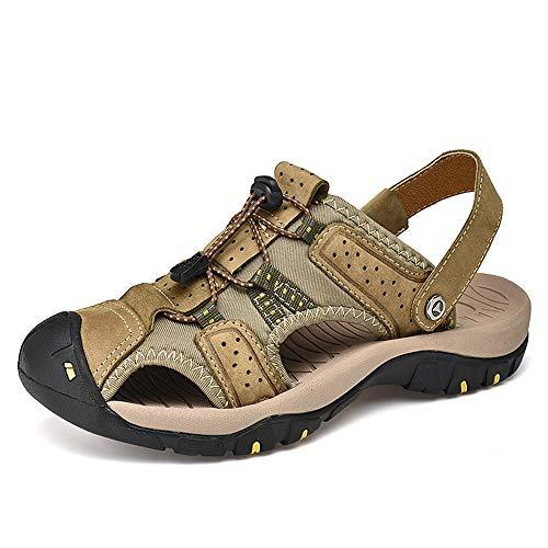 Kaki 44 EU Chaussures à Bout Ouvert Sandales pour Hommes Chaussures de Sport en Dentelle faciles à Porter Anti-Collision Douce
