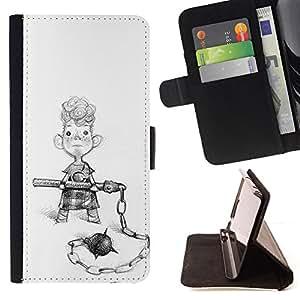 Stuss Case Funda Carcasa PU de Cuero - Boy combat de rue Art dessin au crayon Curly - Samsung Galaxy Note 5 5th N9200