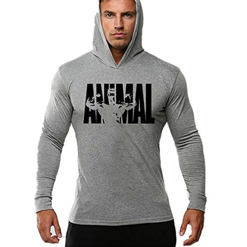 YeeHoo Men's Bodybuilding Sweatshirt Workout Fitness Hoodies Animal Long Sleeve Cotton Gray-Black