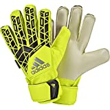 adidas Performance Ace Fingersave Junior Goalie Glove, Solar Yellow/Black/Onix Grey, Size 4