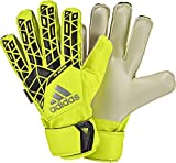 adidas Performance ACE Fingersave Junior Goalie Gloves, Solar Yellow/Black/Onix Grey, Size 4