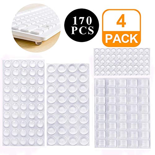ZJMZZM 170 Pieces Elastic Buffer Transparent Protection Buffer Furniture Buffer Rubber Buffer Self-Adhesive Noise Damping Pads Bump Stop for Door, Notebook, Durable and self-Adhesive to The Family