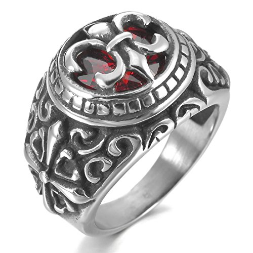 INBLUE Men's Stainless Steel Ring CZ Silver Tone Black Red Celtic Medieval Cross Knight Fleur De Lis Oval Signet -