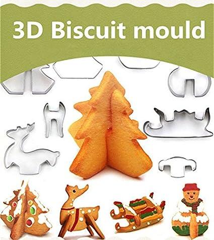 Biscotti Come Regalo Di Natale.10 Pack Moonvvin Incredible 3d A Forma Di Natale Biscotti Stampi