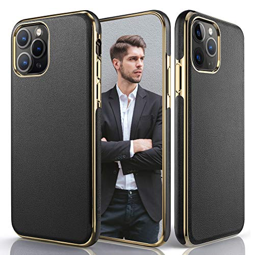 LOHASIC Design for iPhone 11 Pro Max Case, Luxury Leather Ultra Slim Business Style Flexible Soft Grip Full Body Protective Cases Compatible with Apple iPhone 11 Pro Max 6.5 inch (2019) - Black