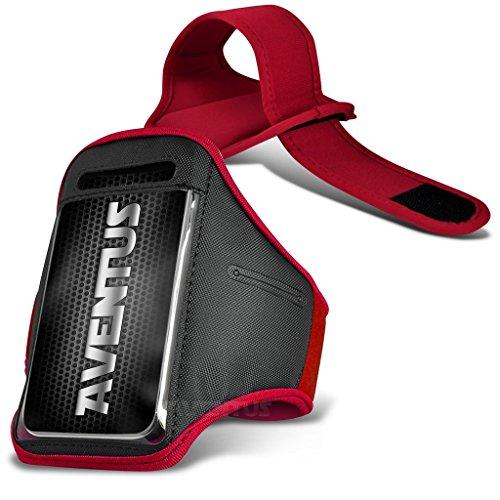Aventus BLU Vivo 4.8 HD (Baby Blau) Voll einstellbare Leicht Hulle Armband-Halter-Kasten-Abdeckung Running, Walking, Radfahren, Fitnessraum und andere Sportarten Rot