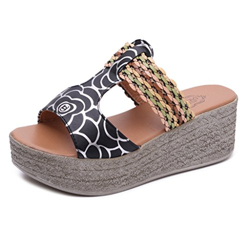 GIY Women's T-Strap Slides Anti-Slip Summer Slip on Platform Footbed Wedge (T-strap Mini Platform)