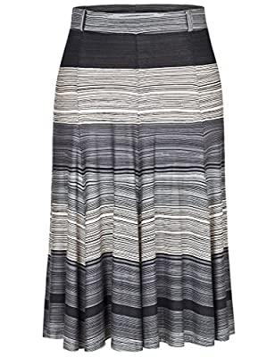 Chicwe Women's Plus Size A Line Flared Knee Long Skirt with Stretch Waistband