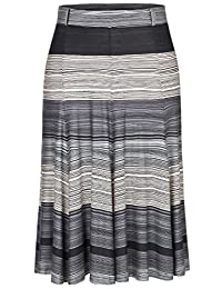 Chicwe Women's Stretchy Waistband A-Line Flared Knee-Long Plus Size Skirt 12W-32W
