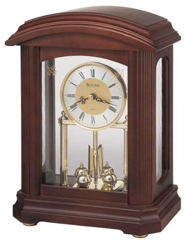 Medium Walnut Finish - Bulova B1848 Nordale Clock, Walnut Finish