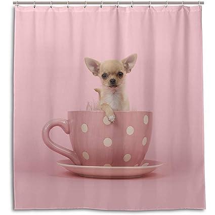 Amazon Jubenlcai Chihuahua Puppy Dog In Cup Shower Curtain 60 X