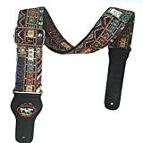 Dr.Music Woven Vintage Jacquard Hootenanny Style Guitar Strap for Acoustic and Electric Bass Guitar with Pick Pocket