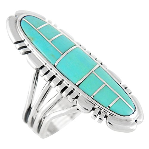 (Sterling Silver Ring with Genuine Turquoise & Gemstones (Select Color) (Turquoise, 11))
