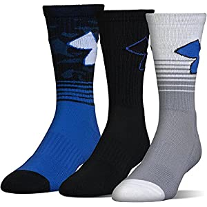 Under Armour Men's Phenom 2.0 Crew Socks (3 Pack), Blue Marker, Large
