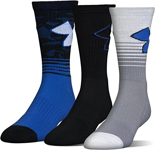 Under Armour Men's Phenom 2.0 Crew Socks (3 Pack), Blue Marker, Medium