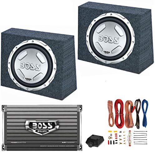 "2 BOSS Audio CX122 12"" 1400W Car Subwoofers + Sealed Boxes + Amplifier+ Wiring"