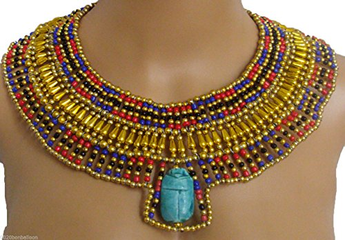 Egyptian Hand Made Multi Beaded Cleopatra Scarab Necklace Collar Christmas Halloween (Cleopatra Style Necklace)