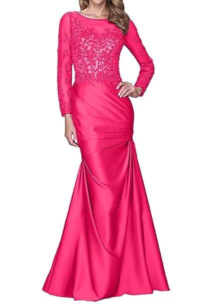 Charm novia madre de la Sirenita de novia Prom Boda Vestido de fiesta con manga larga