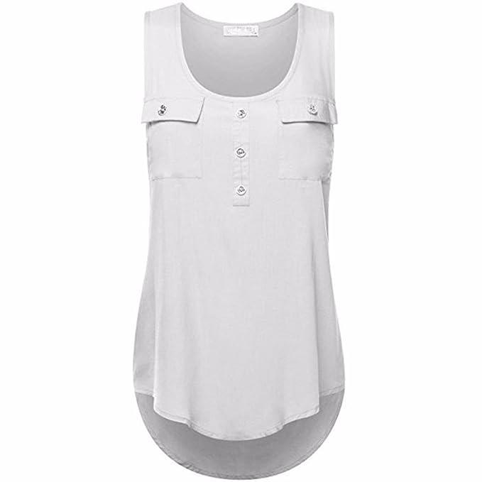 a1c90f9c3e8c Fossen Casual Camisetas sin Mangas para Mujer Blusas Camisa de Dobladillo  Irregular