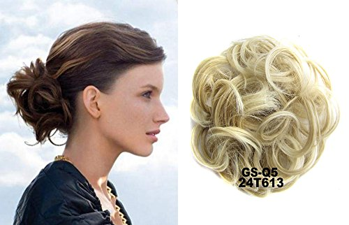 (HI GIRL 30g Updo Hairpiece Ponytail Bun Extensions Scrunchy Synthetic Bun Wavy Curly Messy Hair Donut Hair Chignons Hair Piece Wig #24T613)