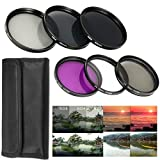 52MM Lens Filter Accessory Kit UV, CPL, FLD + ND Neutral Density Filter Set (ND2, ND4, ND8) + Lens Hood for NIKON D3300 D3200 D3100 D3000 D5300 D5200 D5100 D5000 D7000 D7100 DSLR Camera