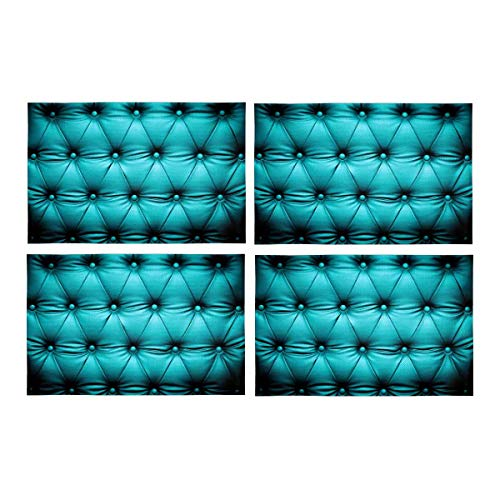 InterestPrint Funny Blue Turquoise Buttoned Couch Sofa Bed Headboard Leather Fabric Placemats Set of 4 Stain Resistant Place Mat for Dining Table Durable Washable Kitchen Table Mats 12