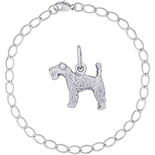 Kerry Dog Terrier Blue Charm (Rembrandt Charms Sterling Silver Kerry Blue Terrier Charm on a Elongated Oval Bracelet, 7