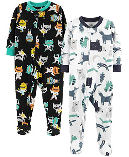 Carter's Baby Boys' Toddler 2-Pack Fleece Pajamas, Animals/Monster, 4T