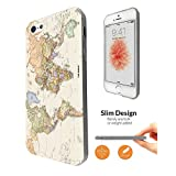178 - Cool Fun World Map The World Look Design iphone SE 2016 / iphone 5 5S Fashion Trend CASE Ultra Slim Light Plastic 0.3MM All Edges Protection Case Cover-Clear