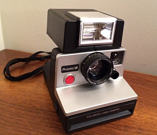 Polaroid Pronto! B - Silver & Black Land Camera With Strap & ITT MAGIC FLASH - Perfect for Impossible Project Film - SX-70 - Vintage