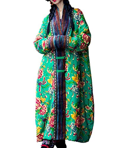 YESNO A67 Women's Long Floral Quilted Jacket Outwear Coat Chinese Traditional Qipao (XL, A67 Green)
