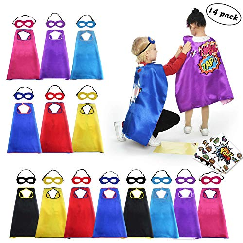 (Super Hero Capes and Masks for Kids Bulk-Boys Girls Superhero Dress Up Costume Party Supplies with Stickers,14)