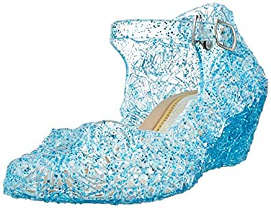L-Peach Princess Girls' Cute Sparkle Sandals Fancy Dress Up Jelly Party Dancing Cosplay Shoes Blue Size: 1 M US Little Kid