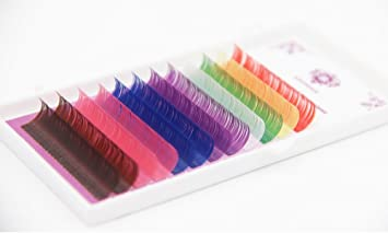 120acd703c5 Amazon.com : Lash Beauty USA Rainbow Color Faux Mink Lashes Extension  0.07mm D Curl Lashes Thickness Single Length Tray (13mm) : Beauty