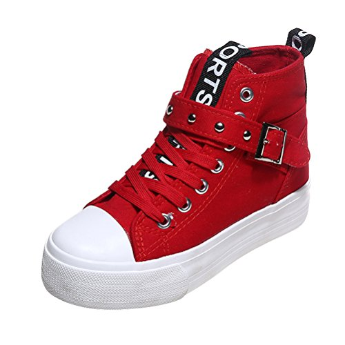 T & Mates Womens Comfort Cap-toed Gesp High Top Duurzaam Canvas Fashion Sneakers Rood