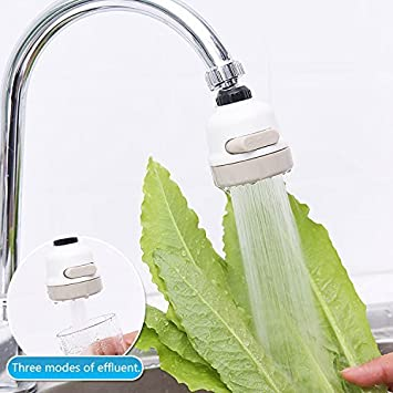 Nifogo 360 Grad drehbarer Wasserhahn,Wasserhahn k/üche ausziehbar,Wasserhahn Filter Sprayer,3 einstellbare G/änge,Verhindern Splash Wei/ß