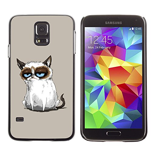 amsung Galaxy S5 siamese cat drawing angry blue eyes moody / Slim Black Plastic Case Cover Shell Armor