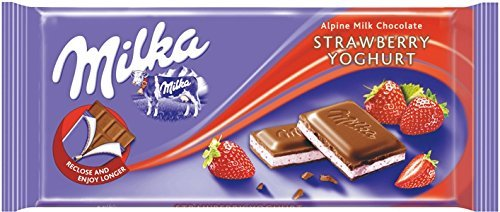 Milka Strawberry Yogurt Milk Chocolate Bar 100g, 10 Pack (Yogurt Chocolate Strawberry)