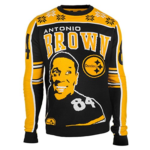 KLEW NFL Pittsburgh Steelers Brown A. #84 2015 Player Ugly Sweater, Medium, Black
