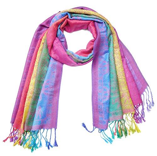 Bijoux De Ja Elephant Rainbow Soft Fringe Fashion Pashmina Pride Shawl Scarf Wrap (Rainbow4)
